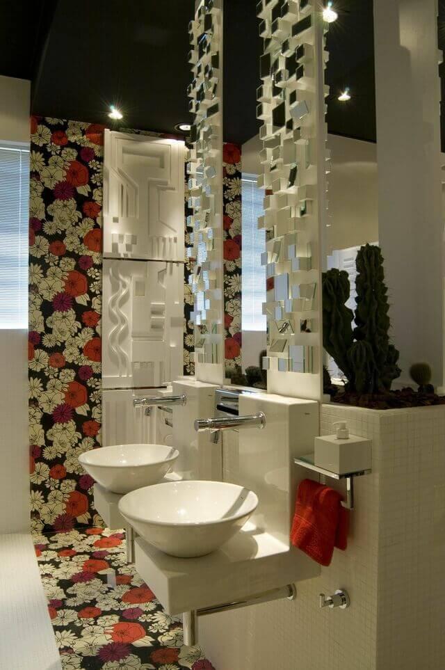 torneira para pia de banheiro - papel de parede florido