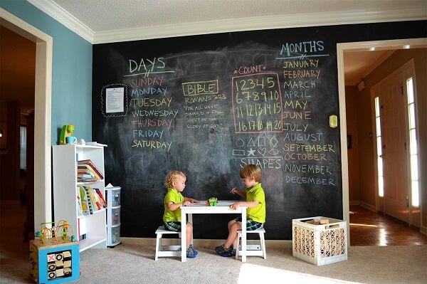 A parede preta com giz no quarto infantil incentiva a imaginação das crianças