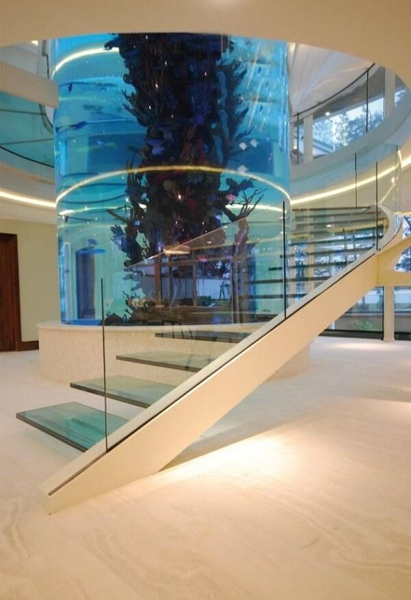 A escada de vidro segue o contorno do aquário central