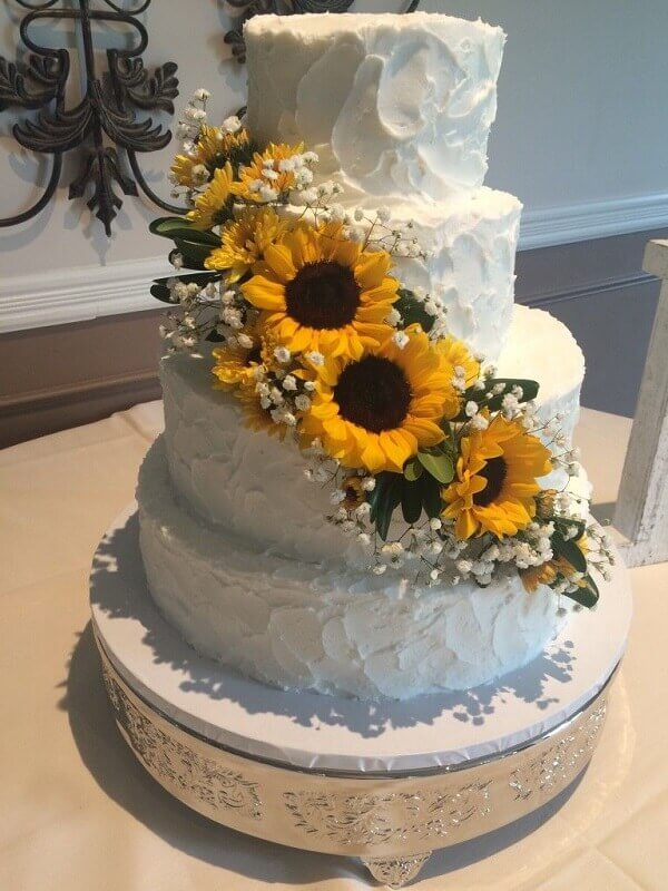 Multi storey sunflower theme party cake