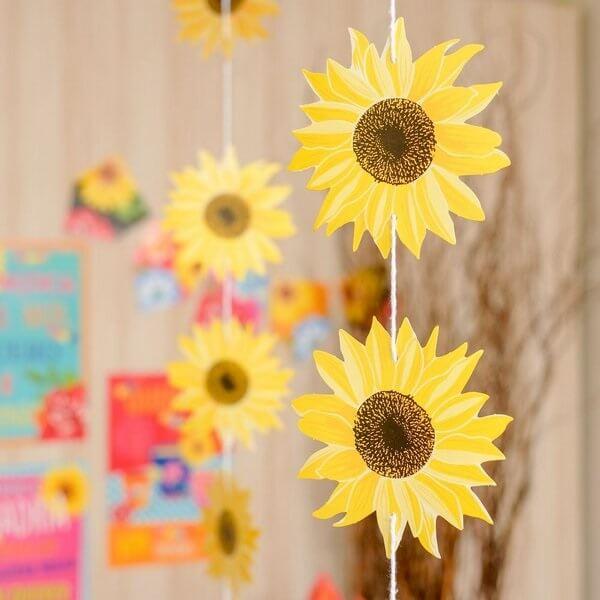 Cortina decorativa para tema de festa girassol simples