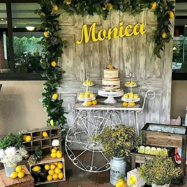Sunflower theme party decoration with creative panel made with wood door