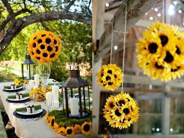 Ideias criativas e baratas para a decoração de festa tema girassol