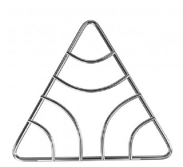 Triangular stainless pan rest model