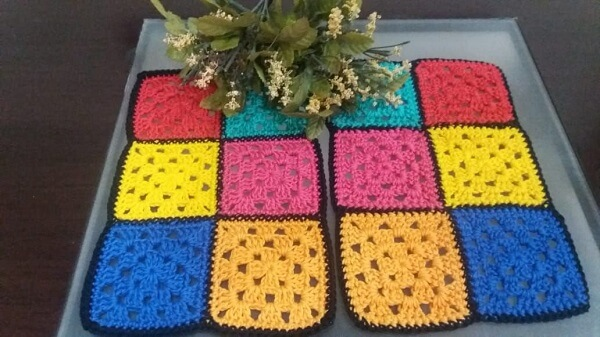 Set of two pieces of crochet