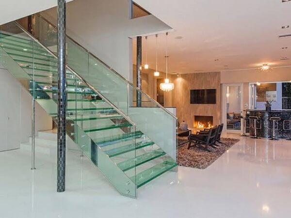 Modelo de escada de vidro laminado temperado