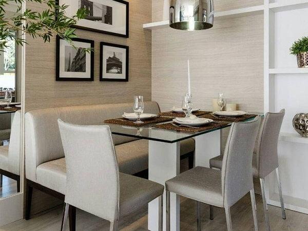 Mesa de canto para sala de jantar com tampo de vidro