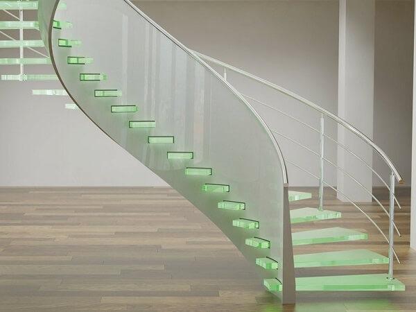 Modelo de escada de vidro caracol com LED