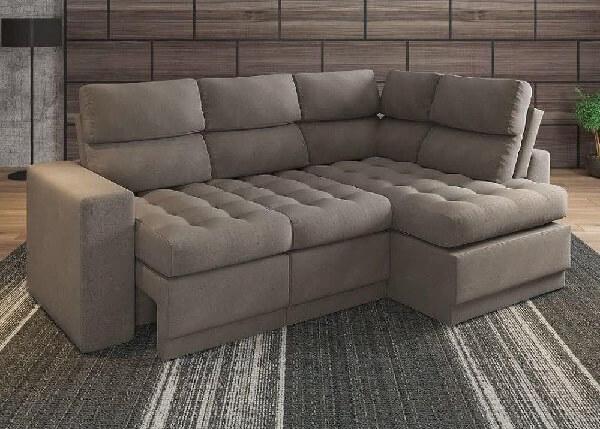 Modelo de sofá de canto retrátil 4 lugares