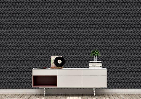 Papel de parede 3D preto para sala