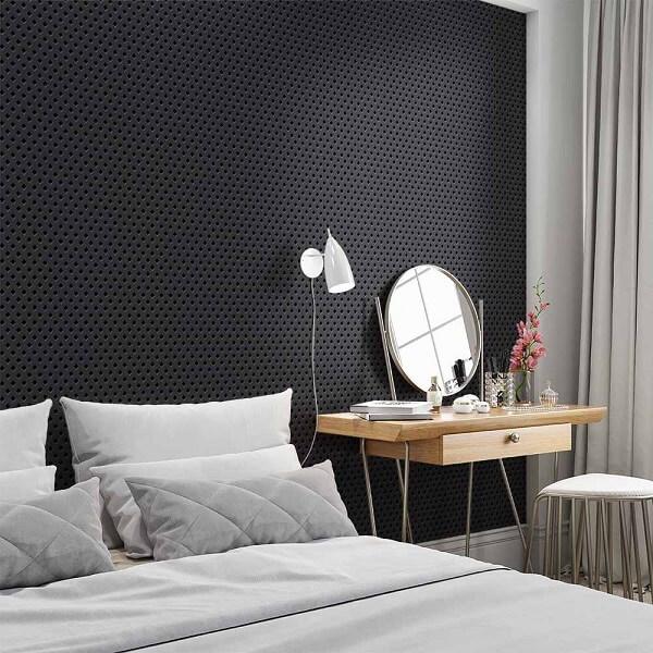 Papel de parede 3D preto para quarto