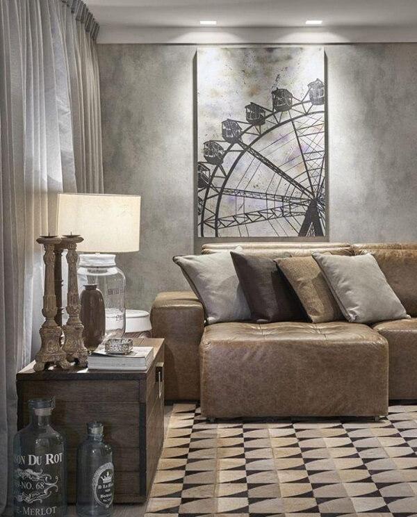 Sofá retrátil de corino traz sofisticação e conforto para o ambiente