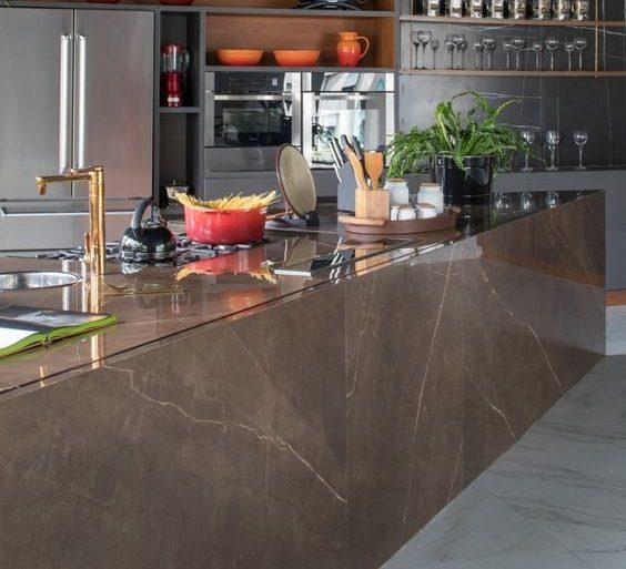bancada de porcelanato - bancada escura de porcelanato - Decor Tiles