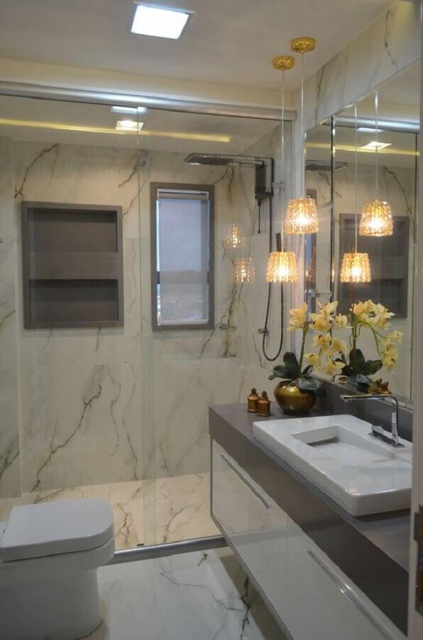 banheiro de apartamento pequeno decorado de luxo Foto ConstruCor