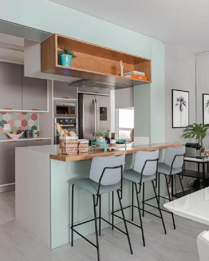 banquetas modernas para cozinha americana pequena Foto Pinterest