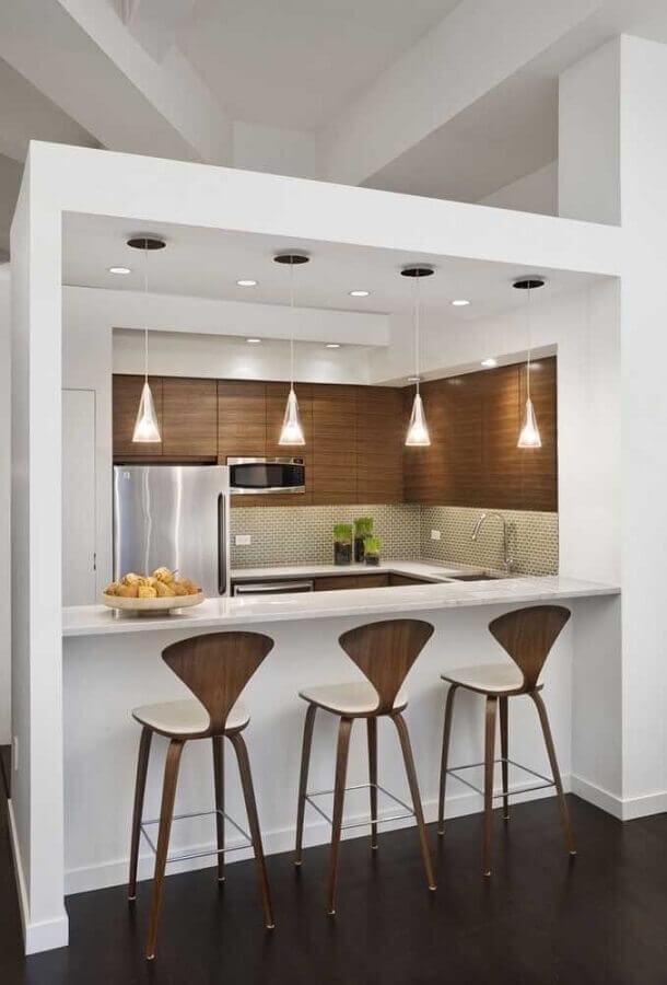 banquetas modernas para cozinha americana toda branca pequena Foto Decoração e Projetos