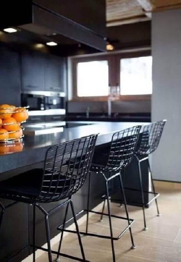 banquetas modernas para cozinha preta Foto Pinterest