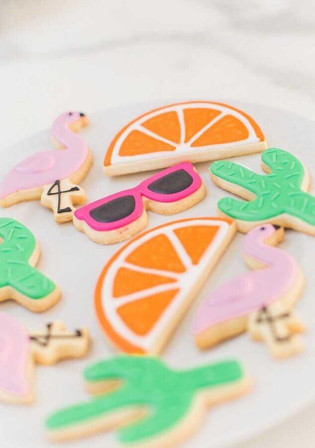biscoitos decorados para festa flamingo infantil Foto Pensamento Criativo