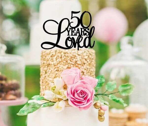 bolo de aniversário de casamento bodas de ouro  Foto Pinterest