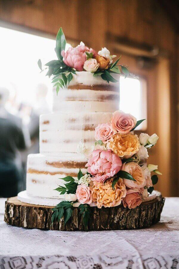 bolo de aniversário de casamento rústico Foto Danielle Noce