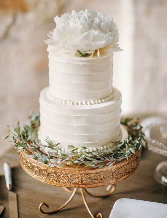 all white 2-story wedding anniversary cake Photo Chic Vintage Brides