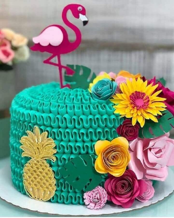 bolo decorado para festa flamingo e abacaxi Foto Mil Dicas