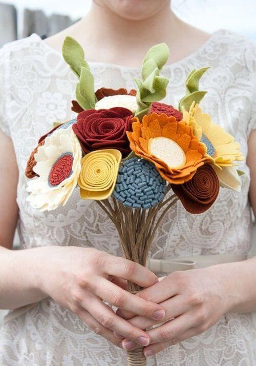 Buquês de flor de feltro