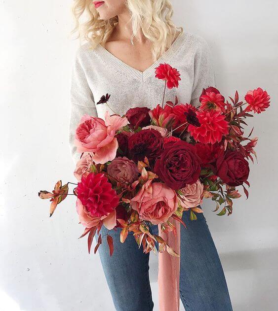 Buquê de flores vermelhas