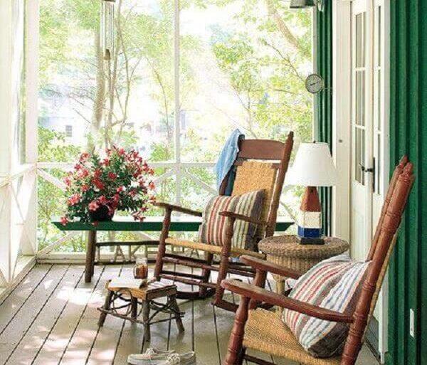 cadeira de balanço para varanda simples Foto Pinterest