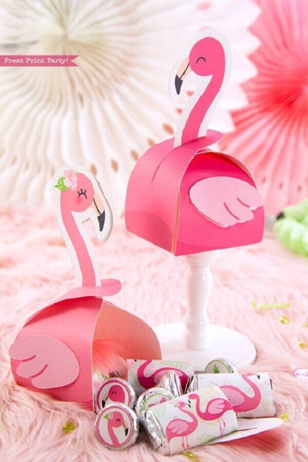 caixinhas de lembrancinhas personalizadas para festa flamingo Foto Press Print Party!