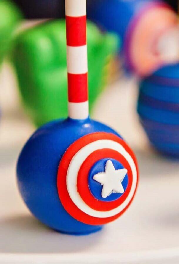 captain america pop cake for revenge party Photo Kara's Party Ideas