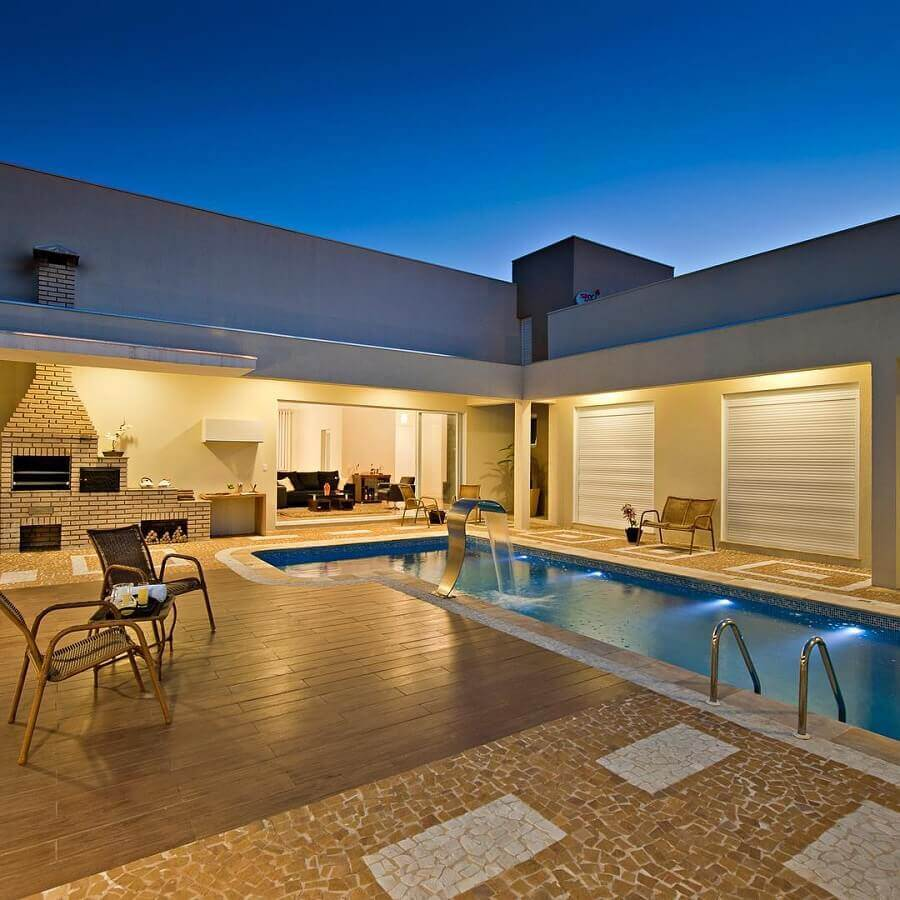 casa em l com piscina e varanda gourmet Foto 2B Arquitetos