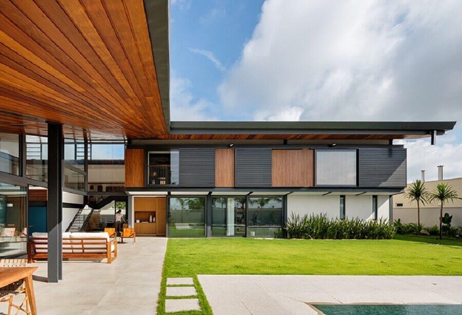 casa em l grande com jardim Foto Obra Arquitetos