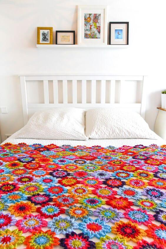 Colcha com flores para cama de solteiro