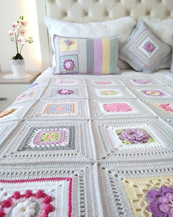 Colcha de cama de crochê casal com flores