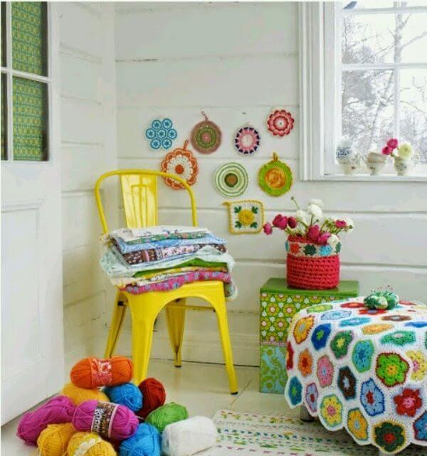 Colcha de crochê para quarto colorido