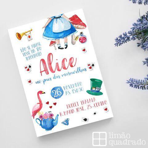 Convite de aniversário infantil Alice no País das Maravilhas
