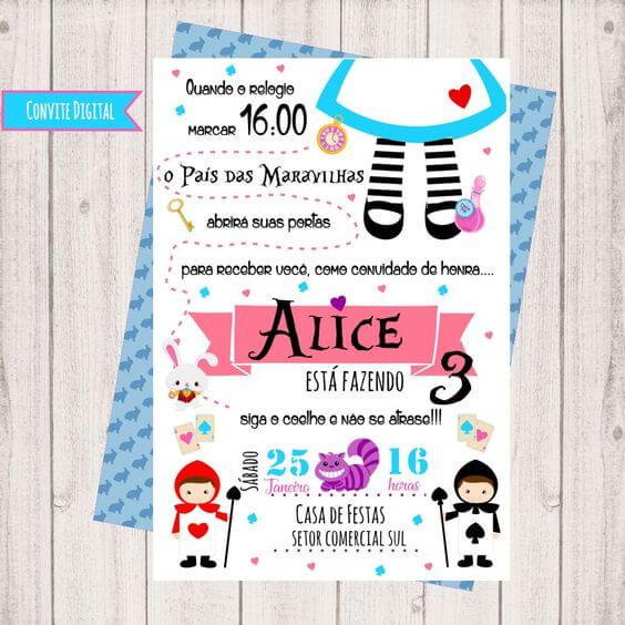 Convite de aniversário infantil digital da Alice no País das Maravilhas