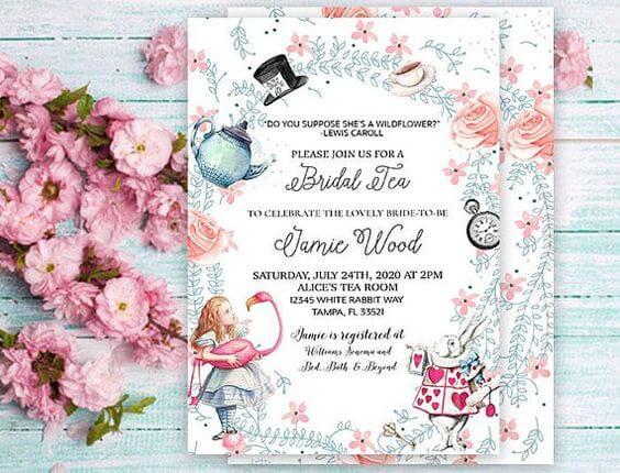 Convite de aniversário infantil da Alice no país das maravilhas