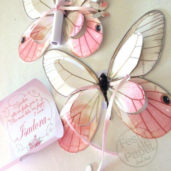 Convite de aniversário infantil borboletas