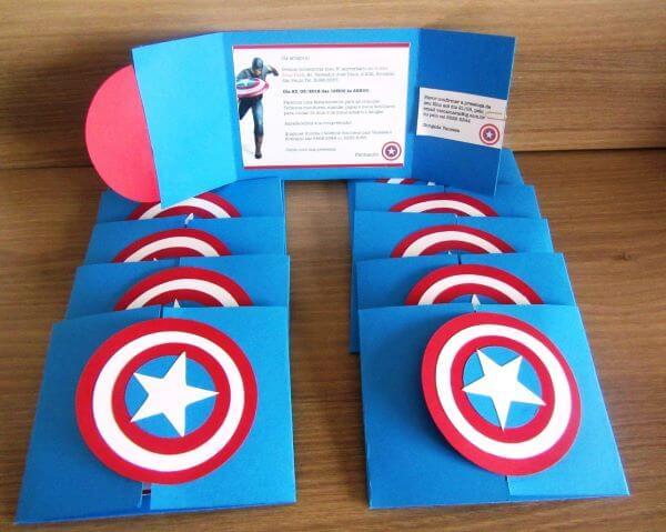 Convite de aniversário infantil capitão america