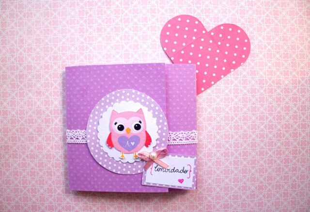 Convite de aniversário infantil da coruja