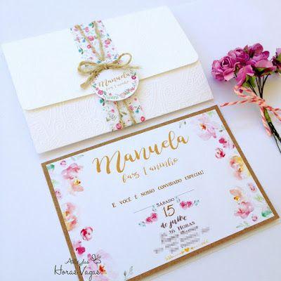 Convite de aniversário infantil floral