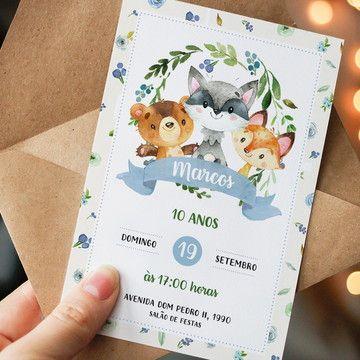 Convite de aniversário infantil masculino na floresta