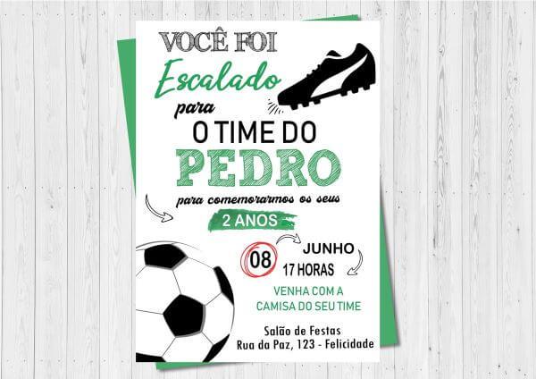 Convite de aniversário infantil futebol