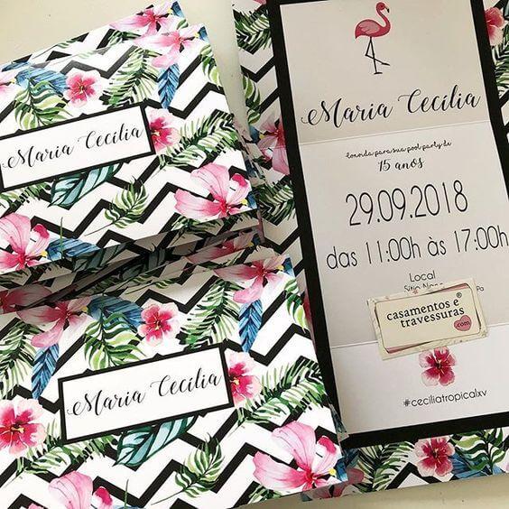 Convite floral para aniversário tropical