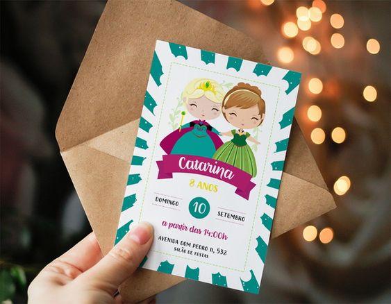 Convite de aniversário infantil Frozen
