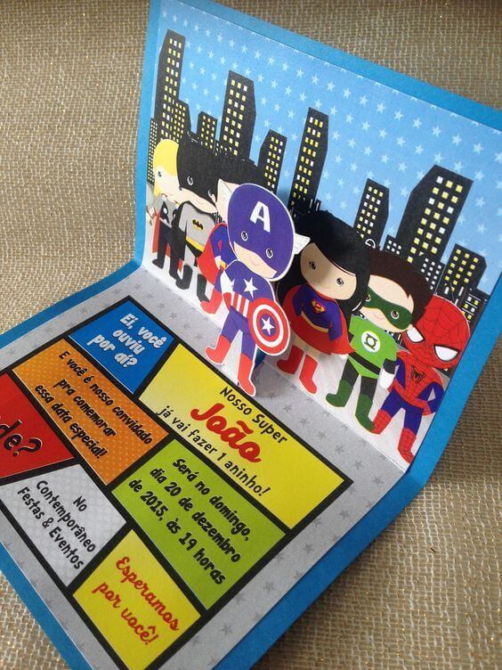 Convite de aniversário infantil de super heróis