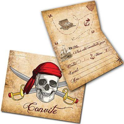 Convite de aniversário infantil de piratas