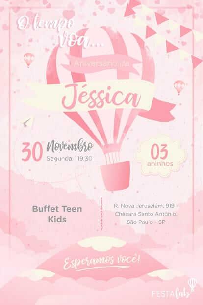 Convite de aniversário infantil virtual de balão rosa